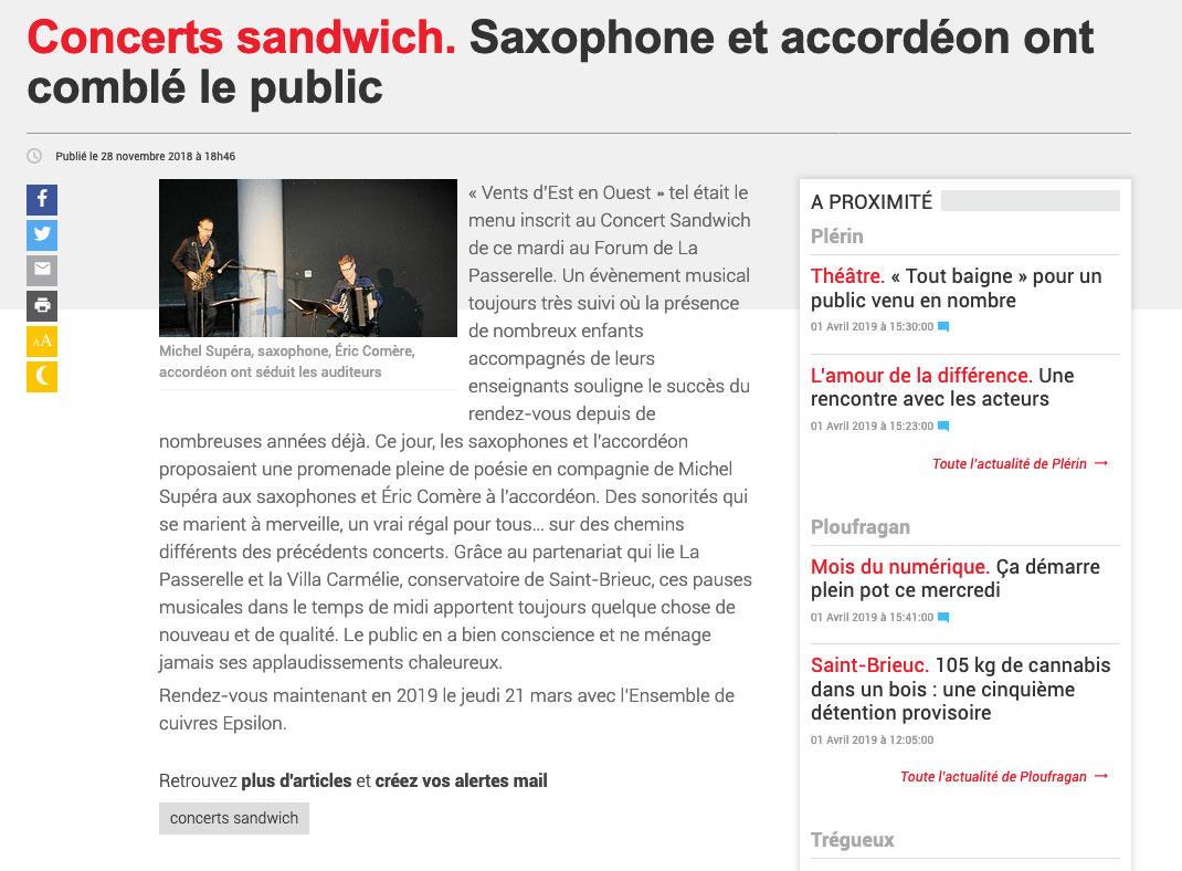 Concerts sandwich. Saxophone et accordéon